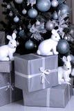 Święta moje portfolio drzewna wersja nosicieli nowy rok, prezent w tree królik postacie Obraz Stock