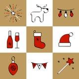 Święta przycinanie cyfrowej zawiera symbole ilustracyjne ustalenia ścieżki Obraz Royalty Free