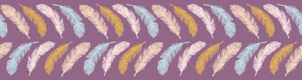 Święta ręka Rysująca Ptasich piórek lampasów wektoru Bezszwowa granica royalty ilustracja