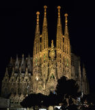 Święta rodzina przy nocą Barcelona Hiszpania Obrazy Stock