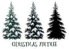 Święta tła ciemności niebieskich od ciemnej strony płatki śniegu jedlinowi drzew Zdjęcie Royalty Free