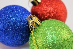 Święta tła sfer szklankę odizolować zabawki białe Zdjęcie Royalty Free