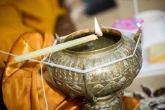 Święta woda w ślubnej ceremonii Tajlandzki ślubu przedmiot Obrazy Royalty Free