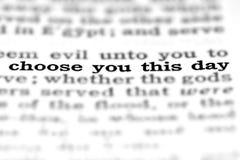 Święte pisma wycena Wybiera ten dzień Obraz Stock