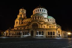 Świętego Aleksander Nevsky katedra w Sofia, Bułgaria, przy nocą Zdjęcie Royalty Free