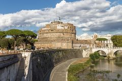 Świętego Angelo kasztel w Rzym, Włochy Obraz Royalty Free
