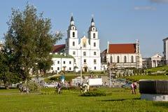 Świętego ducha katedra w Minsk, Białoruś widoku, Ortodoksalny kościół i Dziejowy centrum Obraz Royalty Free