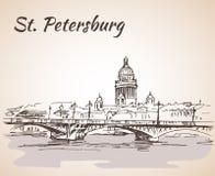 Świętego Isaac most w świętym Petersburg i katedra, royalty ilustracja
