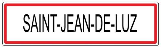 Świętego Jean De Luz miasta ruchu drogowego znaka ilustracja w Francja royalty ilustracja