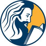 Świętego Jerome Czytelnicza biblia Retro Obraz Royalty Free