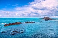 Świętego Malo fortu obywatel i skały, przypływ Brittany, Francja zdjęcie stock