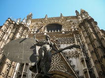 Świętego Mary De Los angeles Sede fasada, Sevilla Andalusia, Hiszpania fotografia royalty free