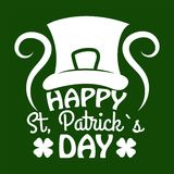 Świętego Patrick dnia symbol koniczynowy liść lub szczęsliwy shamrock Leprechaun liścia i kapeluszu Zdjęcie Stock