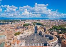 Świętego Peter kwadrata, Watykan i miasta widok z lotu ptaka, Obraz Stock