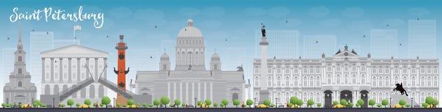 Świętego Petersburg linia horyzontu z popielatymi punktami zwrotnymi i niebieskim niebem ilustracja wektor