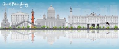 Świętego Petersburg linia horyzontu z popielatymi punktami zwrotnymi, niebieskim niebem i kopią, ilustracja wektor