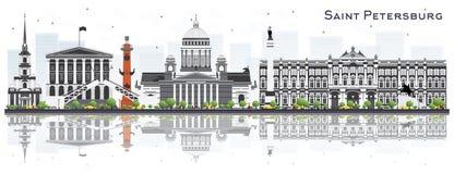 Świętego Petersburg Rosja linia horyzontu z Szarymi budynkami Odizolowywającymi dalej ilustracja wektor