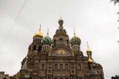 Świętego Petersburg Russia ortodoksyjnego kościół zdrojów na krovi kościół wybawiciel na rozlewającej krwi Fotografia Royalty Free