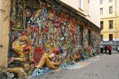 Świętego Petetsburg zimy popielaty dzień w jaskrawym mozaiki podwórzu Obrazy Stock