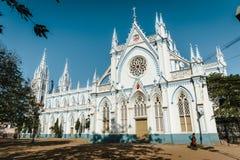 Świętego ` s Maryjna Katolicka Katedralna kościelna zewnętrzna architektura 23 Madurai Luty 2018, India Obrazy Stock