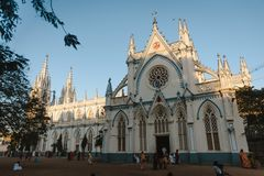 Świętego ` s Maryjna Katolicka Katedralna kościelna zewnętrzna architektura 23 Madurai Luty 2018, India Zdjęcie Royalty Free