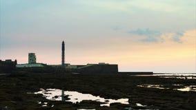 Świętego Sebastian latarni morskiej Cadiz Hiszpania upływ zbiory wideo