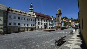Świętej trójcy kwadrat, Banska Stiavnica, Sistani, UNESCO Fotografia Stock