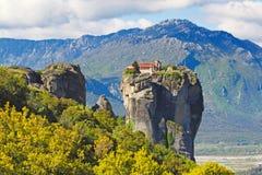 Świętej trójcy monaster lub Agia Triada monaster w Meteor, Grecja Fotografia Stock