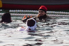 ŚWIĘTO BOŻĘGO NARODZENIA schronienia pływanie 2015, BARCELONA, Portowy Vell - 25th Grudzień: Pływaczki w Święty Mikołaj kapelusza Obrazy Stock