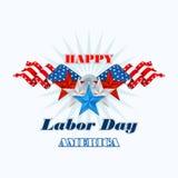 Święto Pracy, abstrakcjonistyczny komputerowy graficzny projekt z flaga i gwiazdy, Zdjęcia Royalty Free