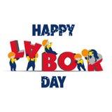 Święto Pracy tekst, śmieszni pracownicy zbiera słowo ilustracja zdjęcia royalty free