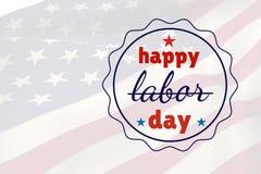 Święto Pracy tekst nad USA flaga Zdjęcia Stock