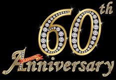 Świętować 60th rocznicowego złotego znaka z diamentami, wektor Obraz Royalty Free