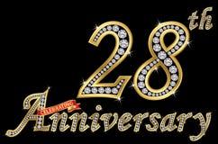 Świętować 28th rocznicowego złotego znaka z diamentami, wektor royalty ilustracja