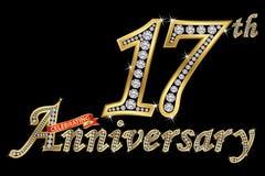 Świętować 17th rocznicowego złotego znaka z diamentami, wektor ilustracji