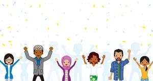 Świętować Wielo- Etnicznej młodej dorosły grupy w confetti ilustracja wektor