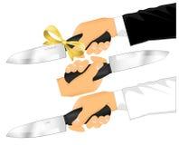 świętowania clipart rozcięcia ręki mienia nóż Obrazy Royalty Free
