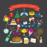 Świętowania i przyjęcia ikony set Zdjęcia Royalty Free