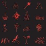 Świętowania i przyjęcia konturu ikony ustawiają eps10 Obraz Stock