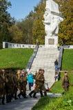 Świętowania na cześć rocznicę wyzwolenie od Nazistowskich najeźdźc w pomniku w wiosce Ilinskoe w Kaluga reg Zdjęcia Royalty Free