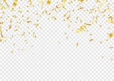 Świętowania tła szablon z confetti i złota faborkami A ilustracja wektor