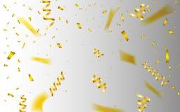 Świętowania tła szablon z confetti i złota faborkami również zwrócić corel ilustracji wektora ilustracji