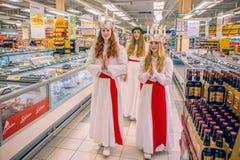 Świętowanie święty Lucy w Szwecja Fotografia Royalty Free