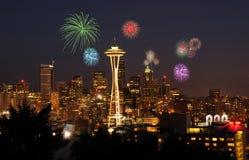 świętowanie fajerwerki Seattle Obraz Royalty Free