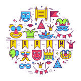 Świętowanie festiwalu wakacyjnego przyjęcia wyposażenia linii ciency illustrationss ustawiający Wektoru maskaradowy karnawałowy i Fotografia Royalty Free