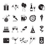 Świętowanie ikony i Partyjne ikony z Białym tłem Obrazy Royalty Free