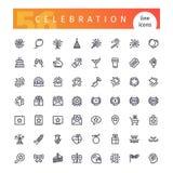 Świętowanie Kreskowe ikony Ustawiać Zdjęcia Stock
