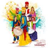 Świętowanie mieszkana pendżabu festiwalu Vaisakhi tło ilustracja wektor