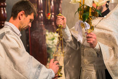 Świętowanie Ortodoksalna wielkanoc w parafii Sainted Nowi spowiednicy Rosja i męczennicy Zdjęcia Stock