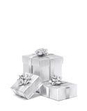 Świętowanie prezenta srebni pudełka odizolowywający na białym tle Obrazy Royalty Free
